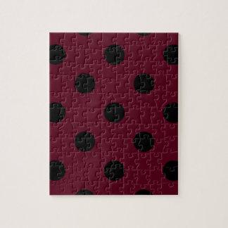 Large Polka Dots - Black on Dark Scarlet Jigsaw Puzzle