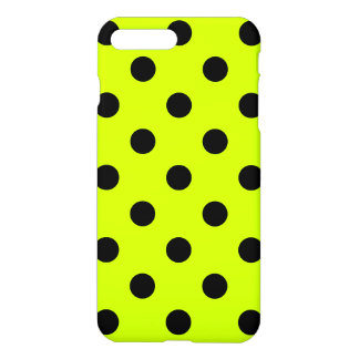Large Polka Dots - Black on Fluorescent Yellow iPhone 7 Plus Case