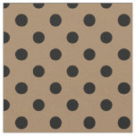 Large Polka Dots - Black on Pale Brown Fabric