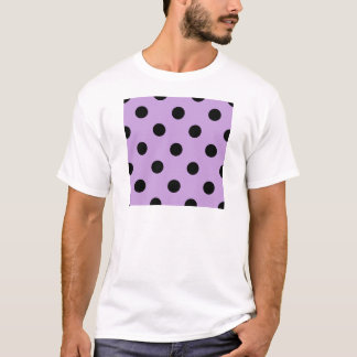 Large Polka Dots - Black on Wisteria T-Shirt