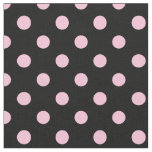 Large Polka Dots - Cotton Candy on Black Fabric