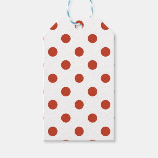 Large Polka Dots - Dark Pastel Red on White Gift Tags