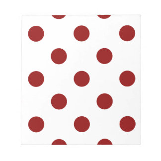 Large Polka Dots - Dark Red on White Notepad
