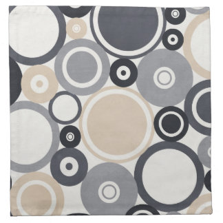 Large polka dots grey and brown Cloth Napkin