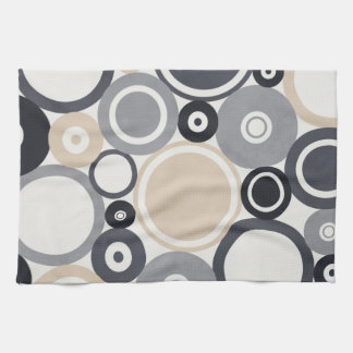 Large polka dots grey and brown Kitchen Towel