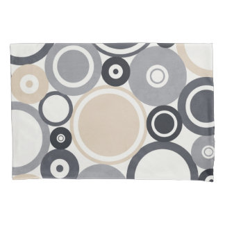 Large Polka Dots Grey and Brown Pillow Case Pillowcase