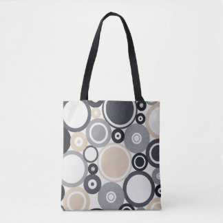 Large Polka Dots Grey and Brown Tote Bag