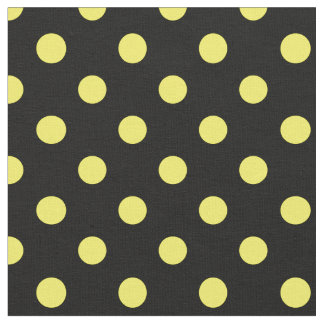 Large Polka Dots - Lemon on Black Fabric