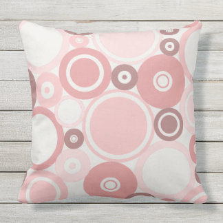 Large Polka Dots Peach theme Outdoor Pillow