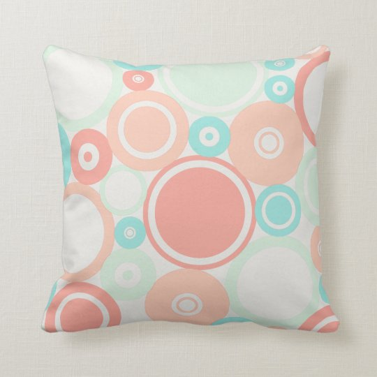 Large Polka Dots Peach theme Throw Pillow