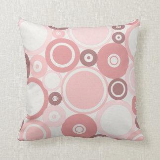Large Polka Dots Pink Summer theme Throw Pillow