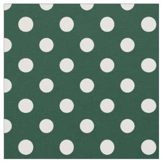 Large Polka Dots - White on Dark Green Fabric