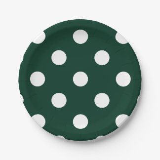 Large Polka Dots - White on Dark Green Paper Plate