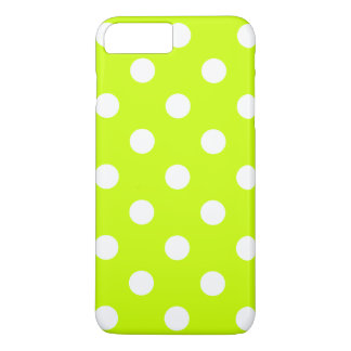 Large Polka Dots - White on Fluorescent Yellow iPhone 7 Plus Case