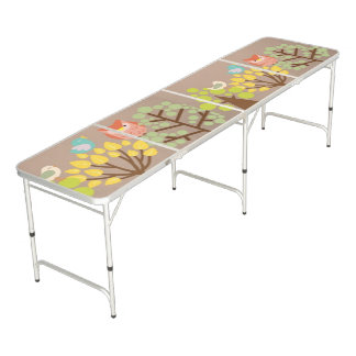 large pong table with image of trees and birds