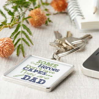 Large Premium Square Keychain/Super Heros & Dad Silver-Colored Square Keychain