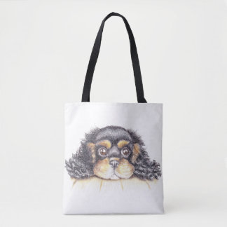 Large Print Tote with Puppy Max The Cavalier