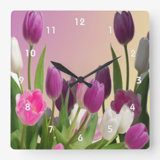 Large Purple and White Tulips Clock