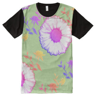 Large Rainbow Wall Flowers on Green All-Over-Print T-Shirt