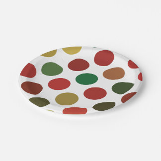Large Red And Gold Polkadots Pattern 7 Inch Paper Plate