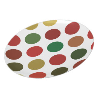 Large Red And Gold Polkadots Pattern Plate