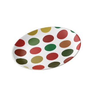 Large Red And Gold Polkadots Pattern Porcelain Plate