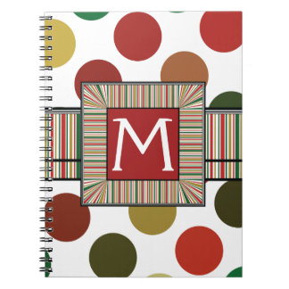 Large Red And Gold Polkadots Pattern With Initial Notebooks