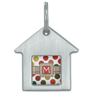 Large Red And Gold Polkadots Pattern With Initial Pet Tag