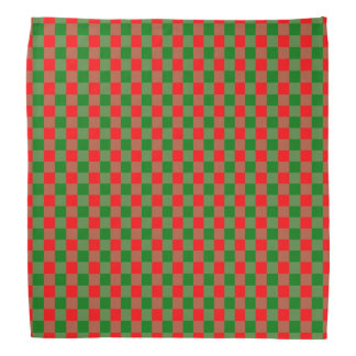Large Red and Green Christmas Gingham Check Tartan Bandana