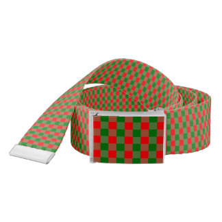 Large Red and Green Christmas Gingham Check Tartan Belt