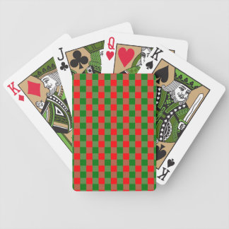 Large Red and Green Christmas Gingham Check Tartan Bicycle Playing Cards