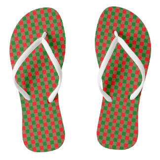 Large Red and Green Christmas Gingham Check Tartan Flip Flops