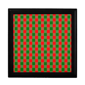 Large Red and Green Christmas Gingham Check Tartan Gift Box