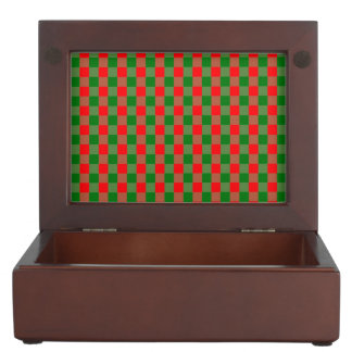 Large Red and Green Christmas Gingham Check Tartan Keepsake Box