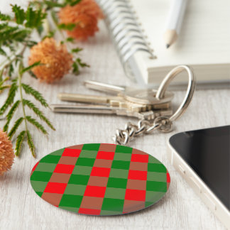 Large Red and Green Christmas Gingham Check Tartan Keychain