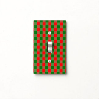 Large Red and Green Christmas Gingham Check Tartan Light Switch Cover