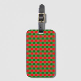 Large Red and Green Christmas Gingham Check Tartan Luggage Tag