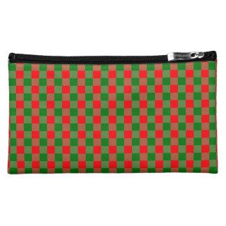 Large Red and Green Christmas Gingham Check Tartan Makeup Bag
