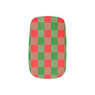 Large Red and Green Christmas Gingham Check Tartan Minx Nail Art
