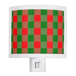 Large Red and Green Christmas Gingham Check Tartan Nite Lights