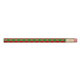 Large Red and Green Christmas Gingham Check Tartan Pencil
