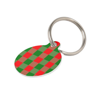 Large Red and Green Christmas Gingham Check Tartan Pet ID Tag