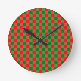 Large Red and Green Christmas Gingham Check Tartan Round Clock
