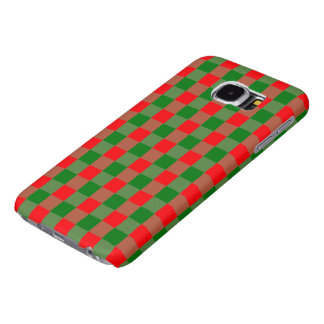 Large Red and Green Christmas Gingham Check Tartan Samsung Galaxy S6 Cases