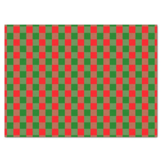 Large Red and Green Christmas Gingham Check Tartan Tissue Paper