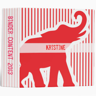 Large Red and white elephant binder
