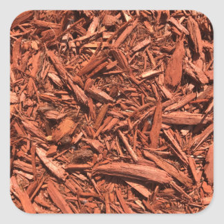 Large red cedar mulch pattern landscape contractor square sticker