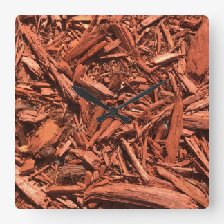 Large red cedar mulch pattern landscape contractor square wall clock