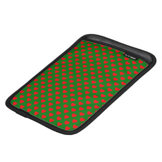 Large Red Christmas Hearts on Green iPad Mini Sleeve