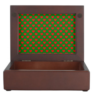 Large Red Christmas Hearts on Green Keepsake Box